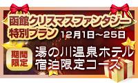 函館クリスマスファンタジー特別プラン12月1日~25日湯の川温泉ホテル宿泊限定コース